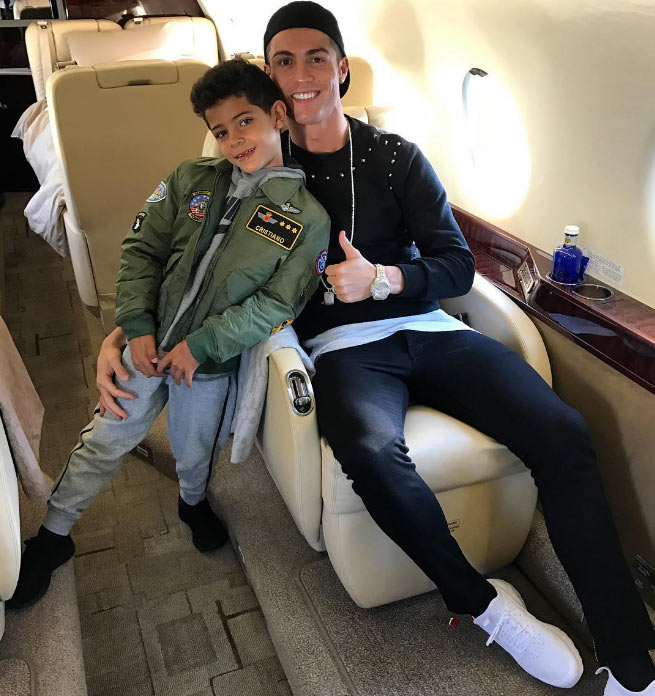 "Ronaldo poses with his son onboard private jet, calls him ""love"""