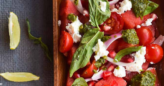 Watermelon and tomato salad with basil vinaigrette