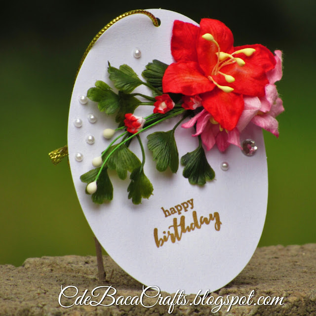 Floral handmade happy birthday gift tags by CdeBaca Crafts blog