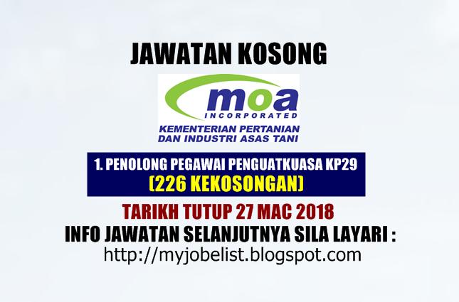 Jawatan Kosong Kementerian Pertanian dan Industri Asas Tani (MOA) Mac 2018