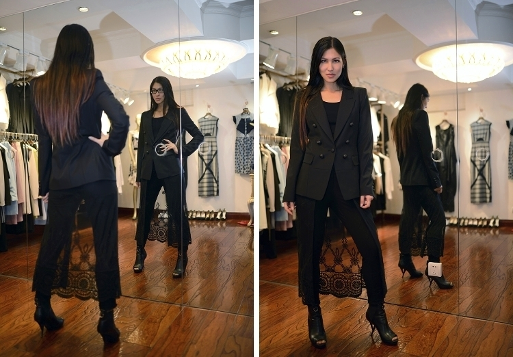 Euriental || fashion & luxury travel || home boutique in Shanghai, all black tailored and lace outfit