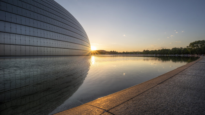 Wallpaper: China. Beijing. Sunset. National Grand Theatre