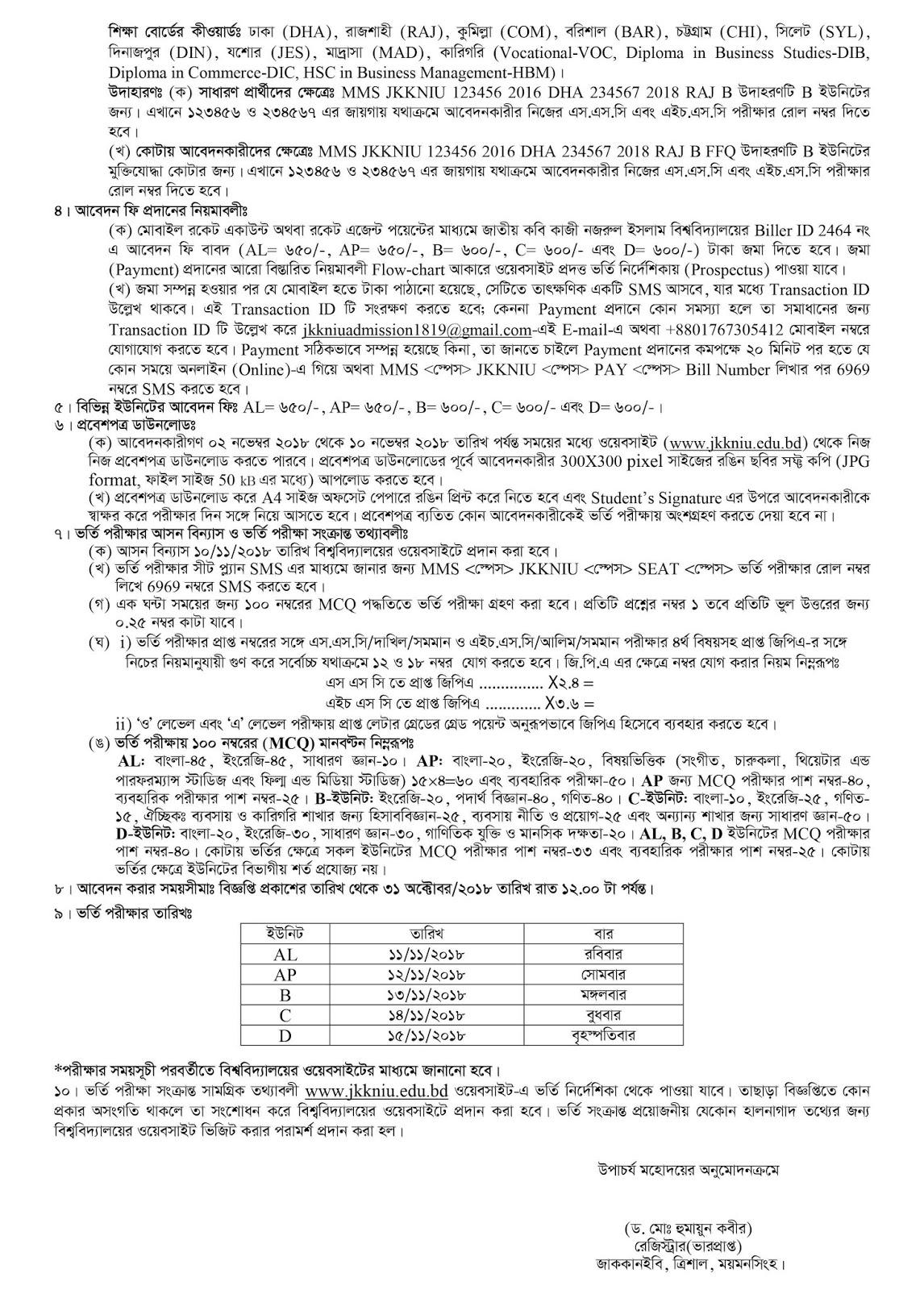 Jatiya Kabi Kazi Nazrul Islam University (JKKNIU) Admission Circular 2018-2019