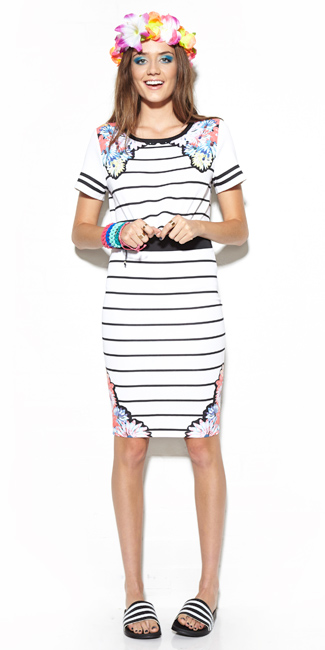 5817035dab6 This pretty Summer-inspring striped tube skirt and matching cropped top  with floral daisy pattern is on the hotlist from MinkPink s SS14 range.