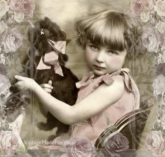 Free vintage image: Girl and Cat