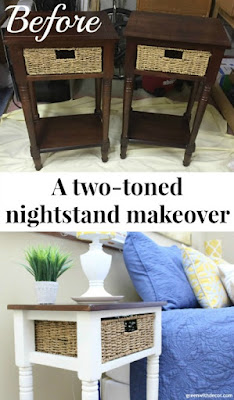 A two-toned makeover: White and wood nightstands