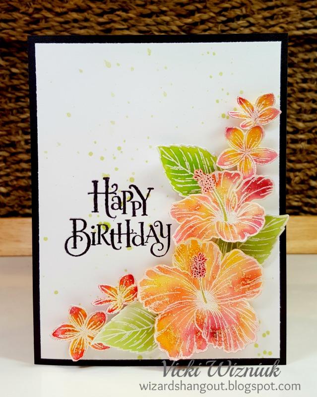 Wizards Hangout Hawaiian Hibiscus Birthday Card – Hawaiian Birthday Greetings