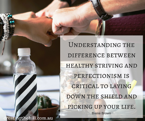 Understanding the difference between healthy striving and perfectionism is critical to laying down the shield and picking up your life.