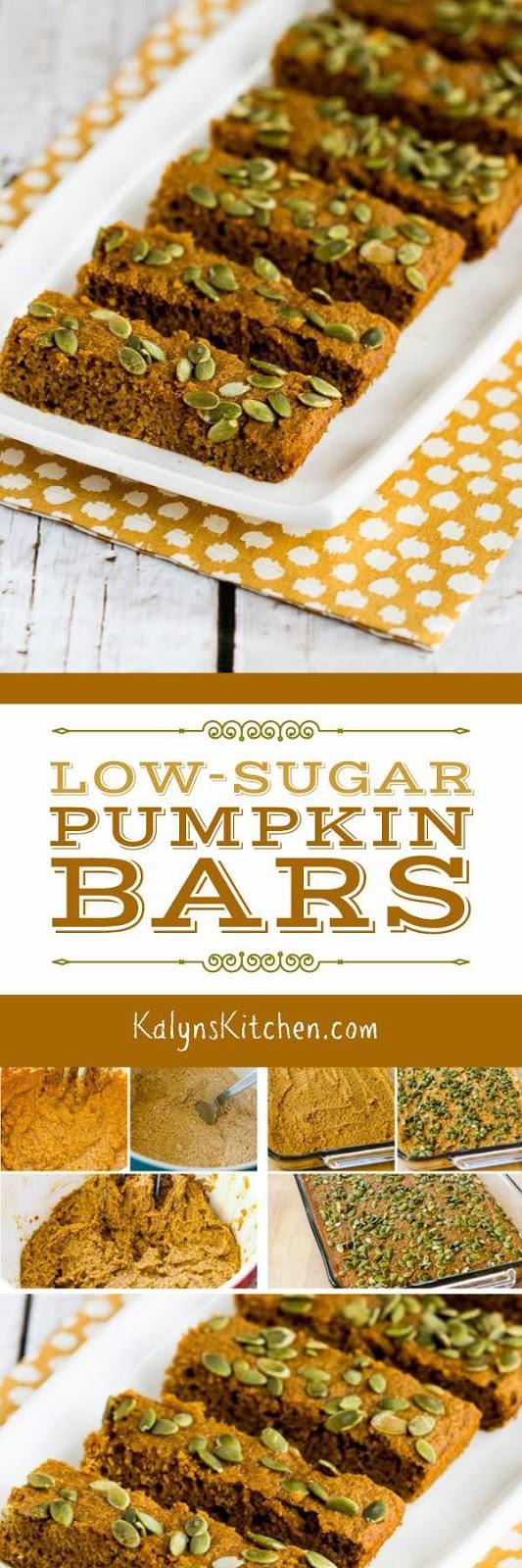 Low-Sugar Pumpkin Bars found on KalynsKitchen.com