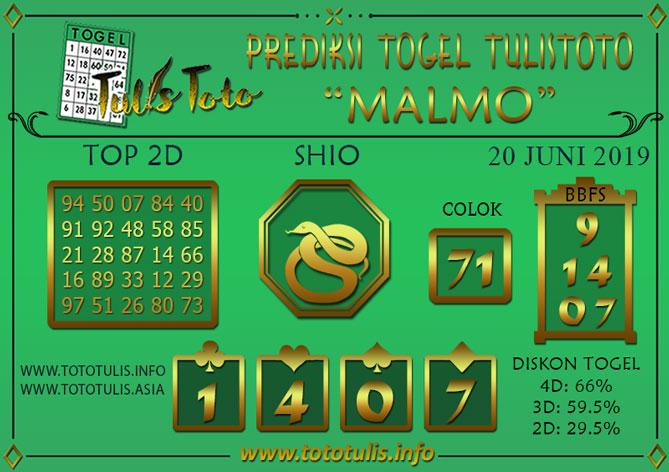Prediksi Togel MALMO TULISTOTO 20 JUNI 2019