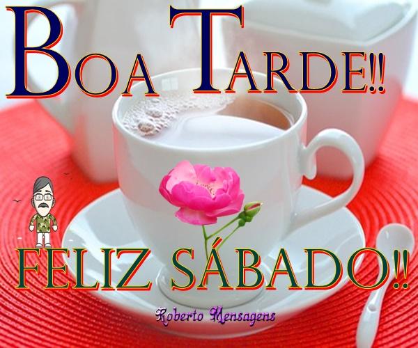 Imagens de Boa tarde e Feliz Sábado com Corações e Flores bonitas -