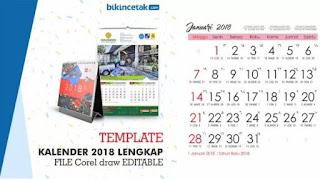 Download Free Design Kalender Tahun 2018 Masehi, jawa dan Hijriyah