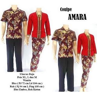 model kebaya batik pasangan Amara merah