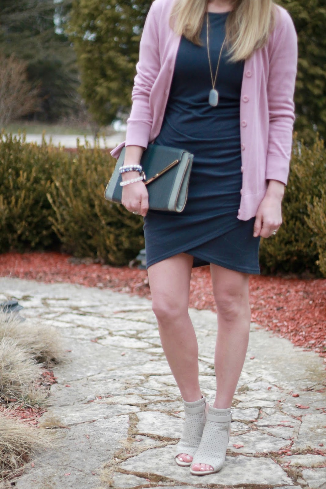 Leith blue ruched dress, pink cardigan, grey peep toe booties, grey envelope clutch, spring work outfit