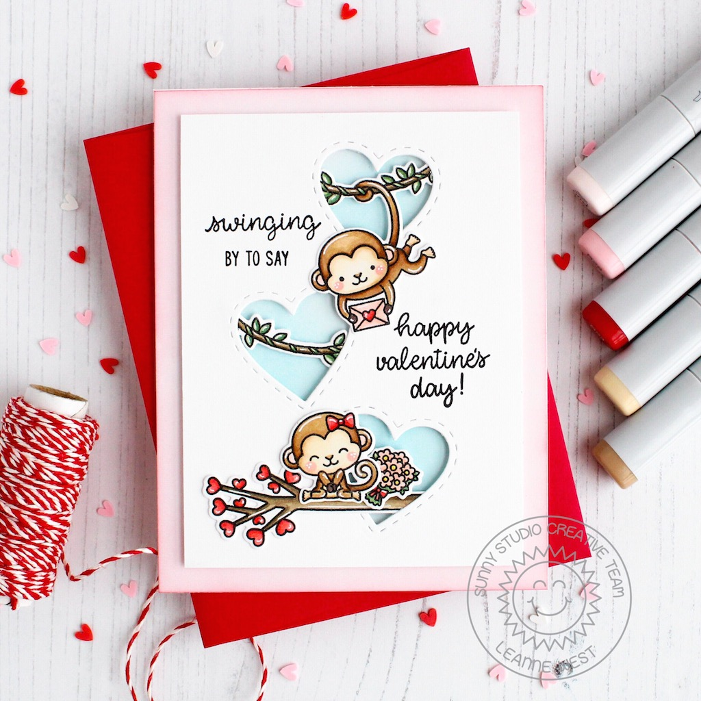Sunny Studio Love Monkey Cards With Leanne  Eloise-2166