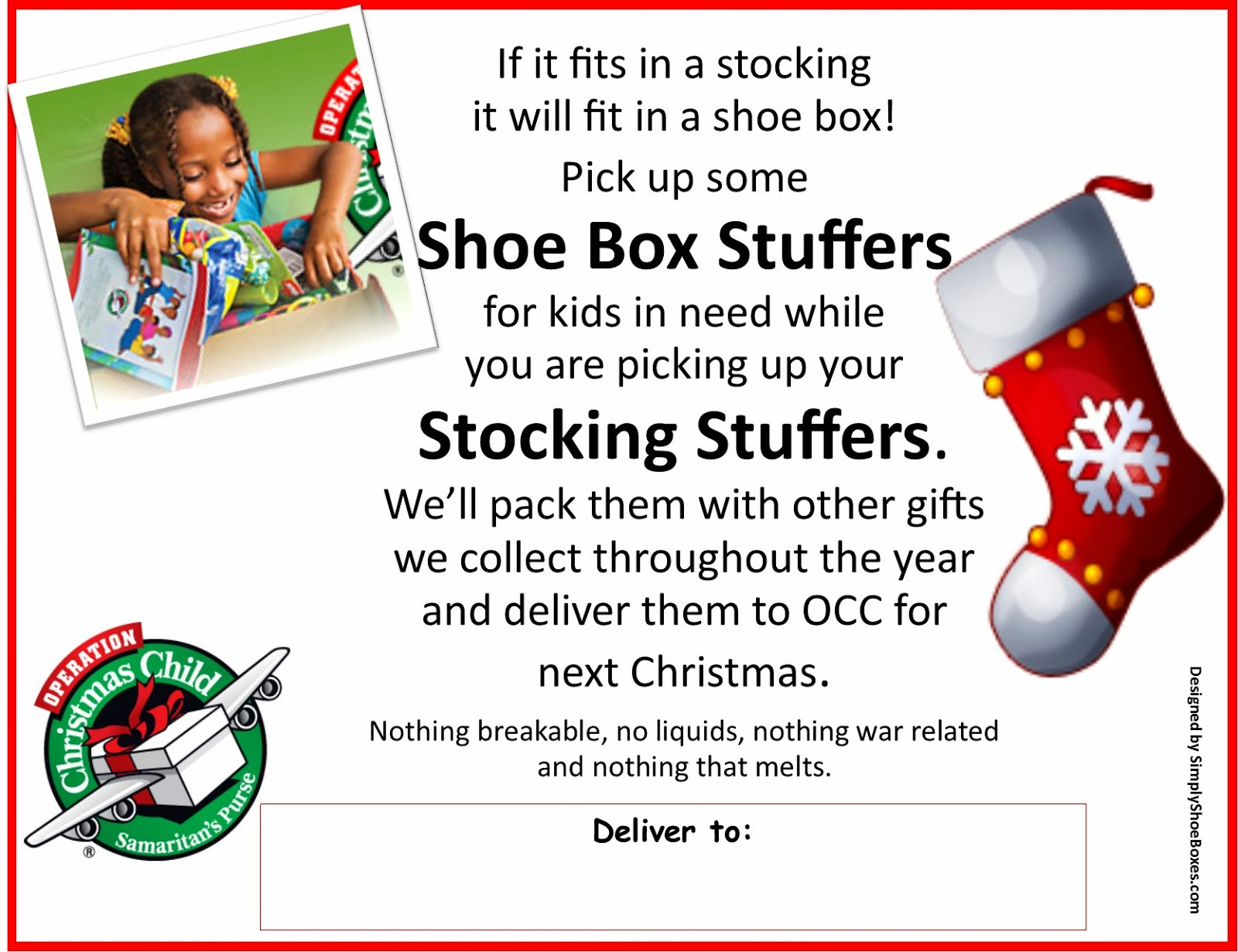 Operation Christmas Child Shoe Box Stuffers Collection Sign