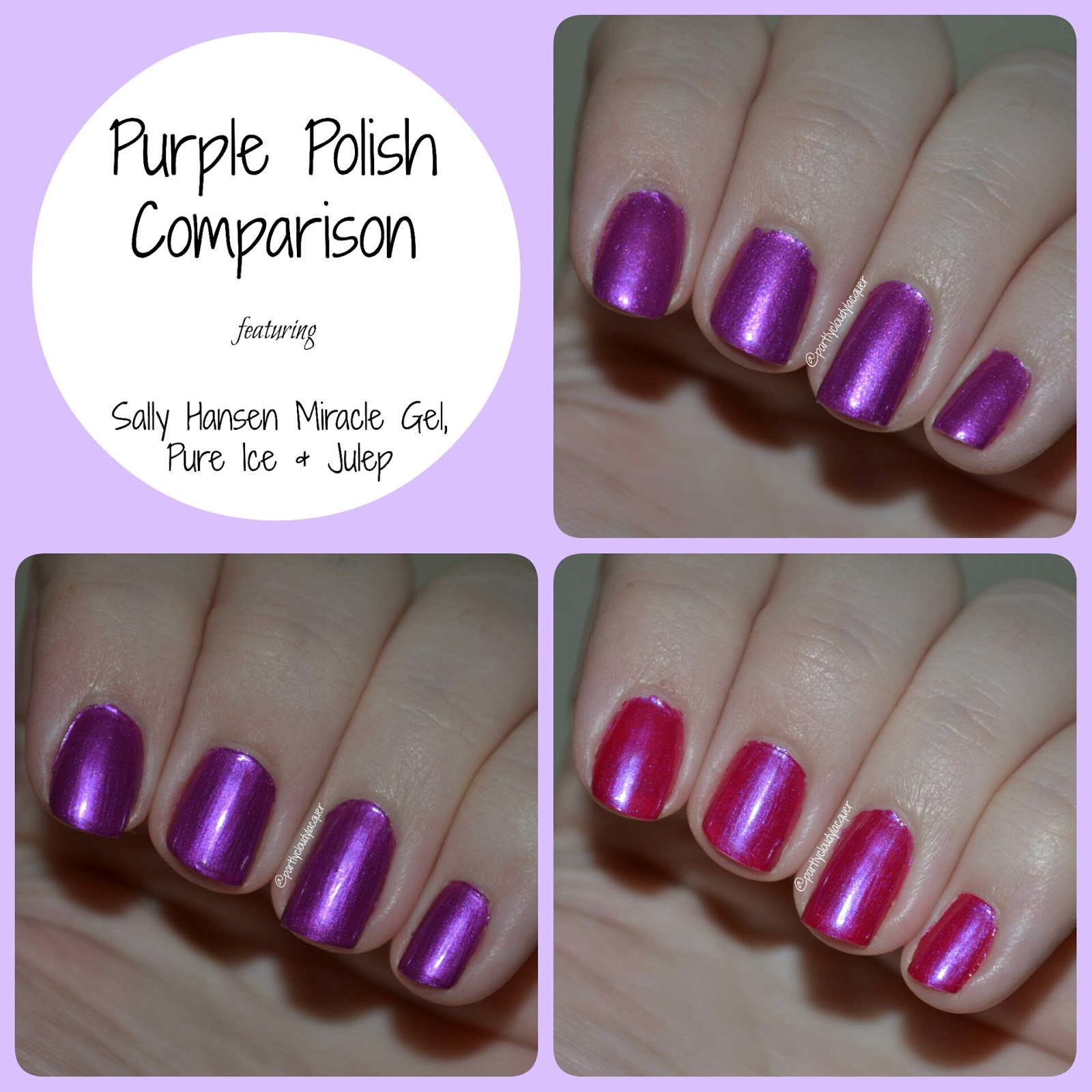 Polish Comparison: Pure Ice, Sally Hansen, and Julep | Partly Cloudy ...