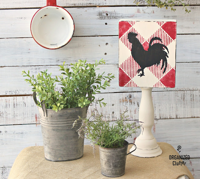 Buffalo Check Upcycled Thrift Shop Decor #stencil #oldsignstencils #farmhouse