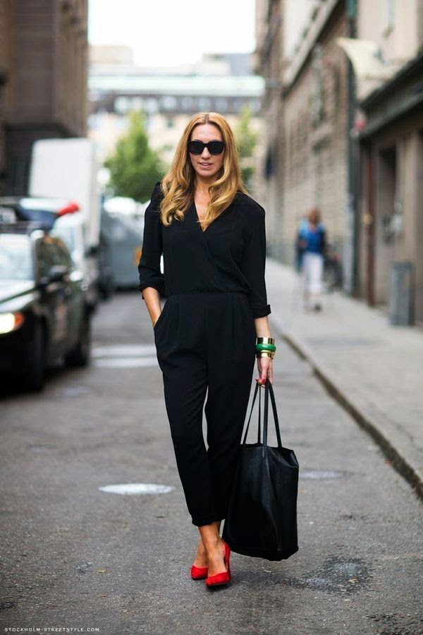 Wearing a Black Jumpsuit with Red Heels