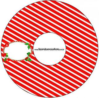 Etiqueta CD´s para Imprimir Gratis de Navidad a Rayas.