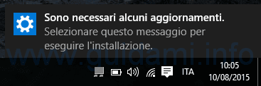 Notifica aggiornamenti Windows 10 disponibili
