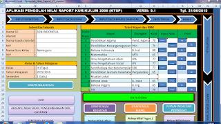 tampilan menu aplikasi raport ktsp
