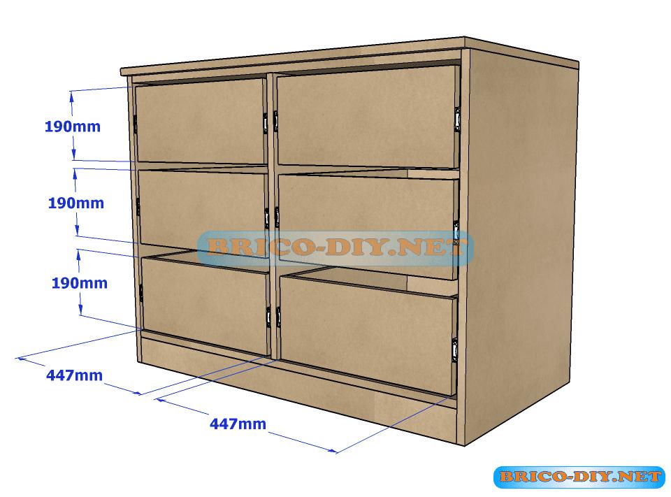 Plano y medidas como hacer una comoda con gavetas de mdf Planos de gabinetes de cocina gratis