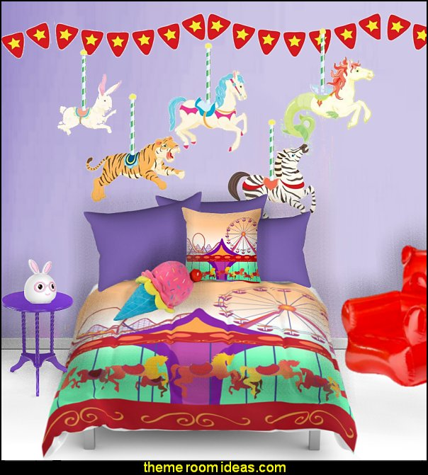 carousel animals carousel theme bedroom ideas - carousel bedroom set - carousel horse theme girls bedrooms - carousel horse decor -  carousel merry go round wall decals - carousel theme baby bedrooms - girls bedrooms theme - carousel horse nursery theme - carousel themed nursery - Carousel  animals Wall Stencils
