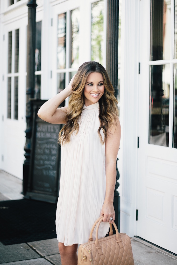 KBStyled: vera bradley cream dress pleated dress halter dresses