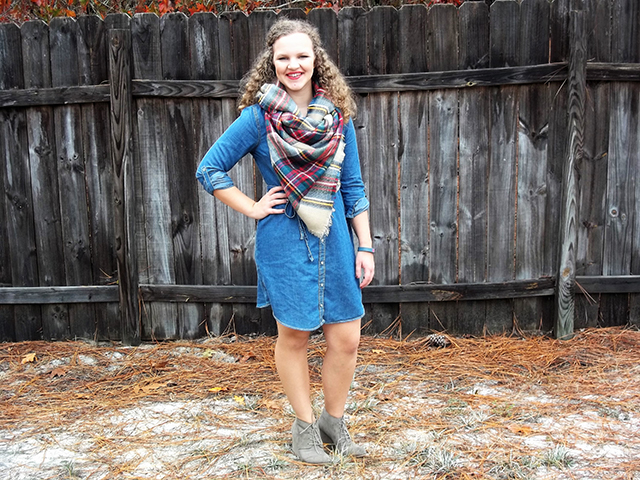 Dressember Outfit 2 Chambray + Blanket Scarf & Grace + Lace Link Up chambray shirtdress wedge booties taupe fall outfit style fashion inspiration fitbit monogram