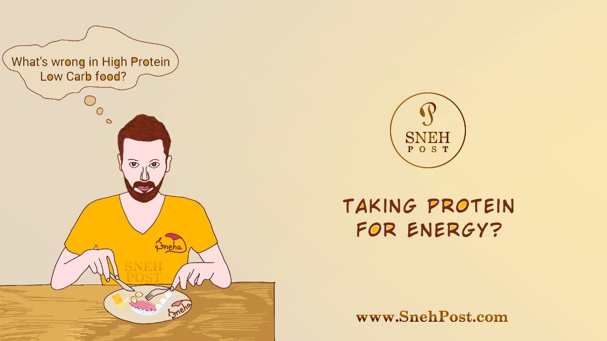 Protein for energy: Man on dinning table with spoon and fork in beard and yellow t-shirt, taking high protein low carb food plate as energy source (cartoon illustration by sneha)