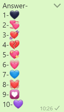 Heart number whatsapp game answers