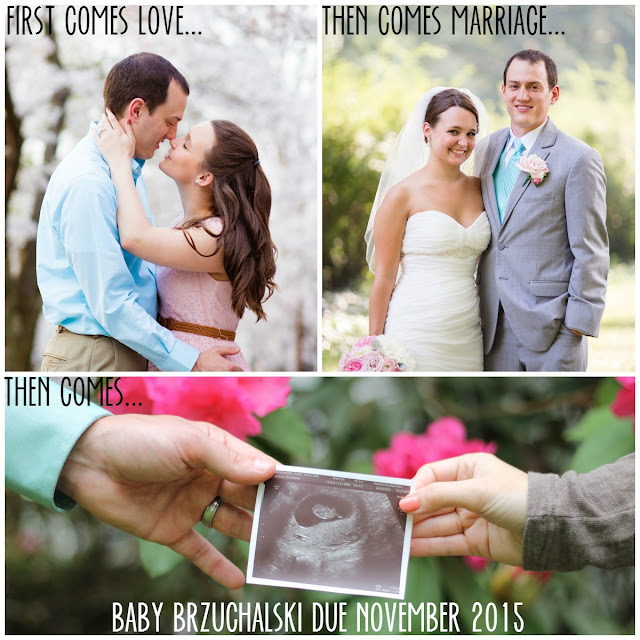 First comes love... pregnancy announcement collage
