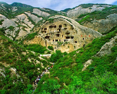 Ancient houses on cliff wall