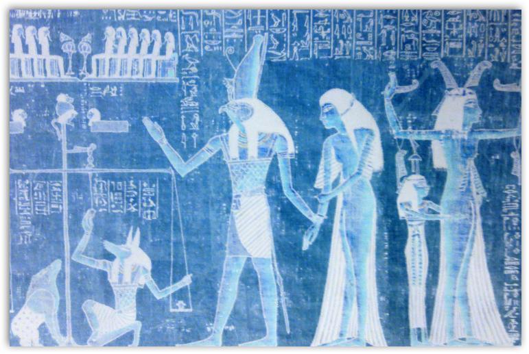 papyrystaulu, Anubis, Kuolleiden kirja, irjan kuva, muokattu