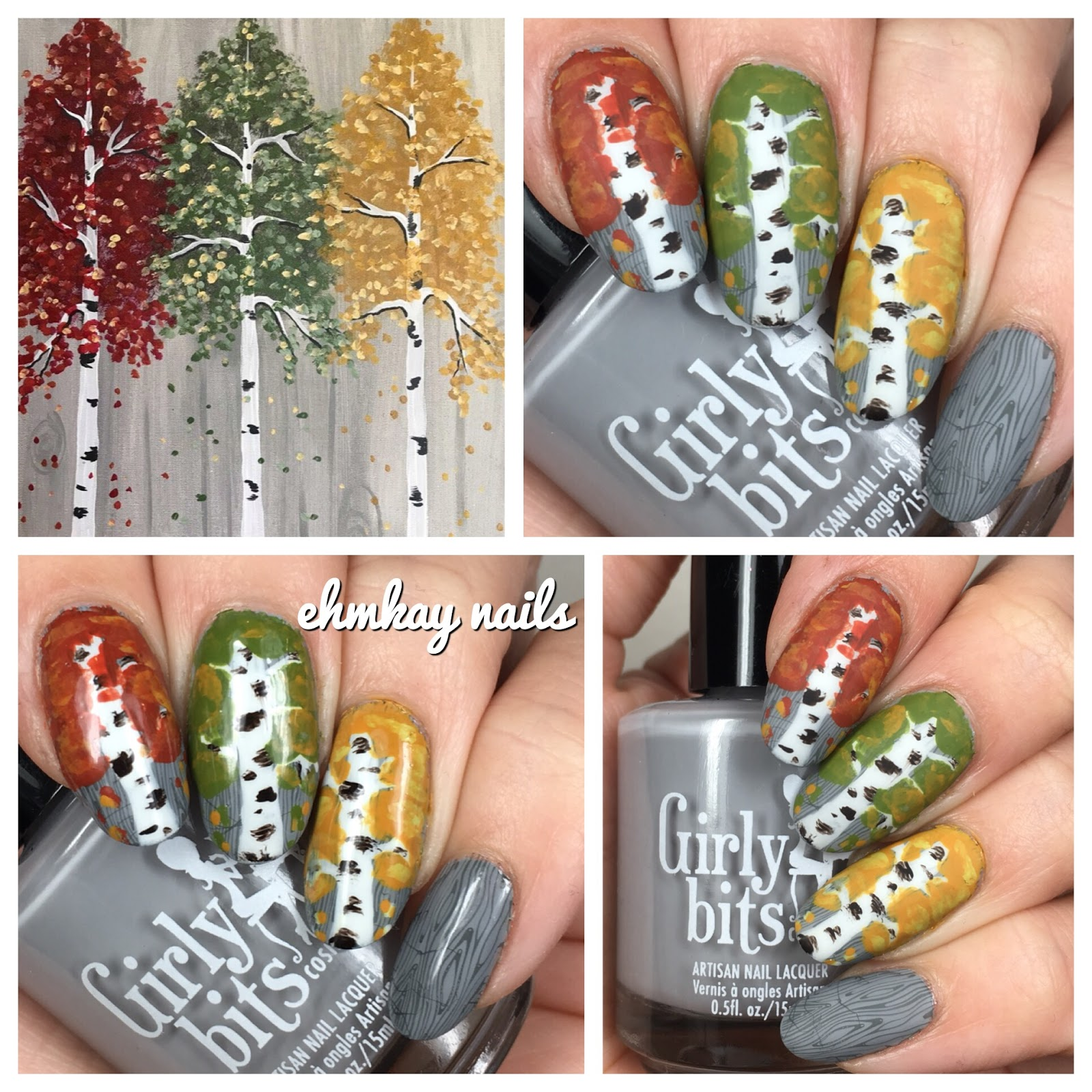 ehmkay nails: Autumn Trees into Winter Nail Art