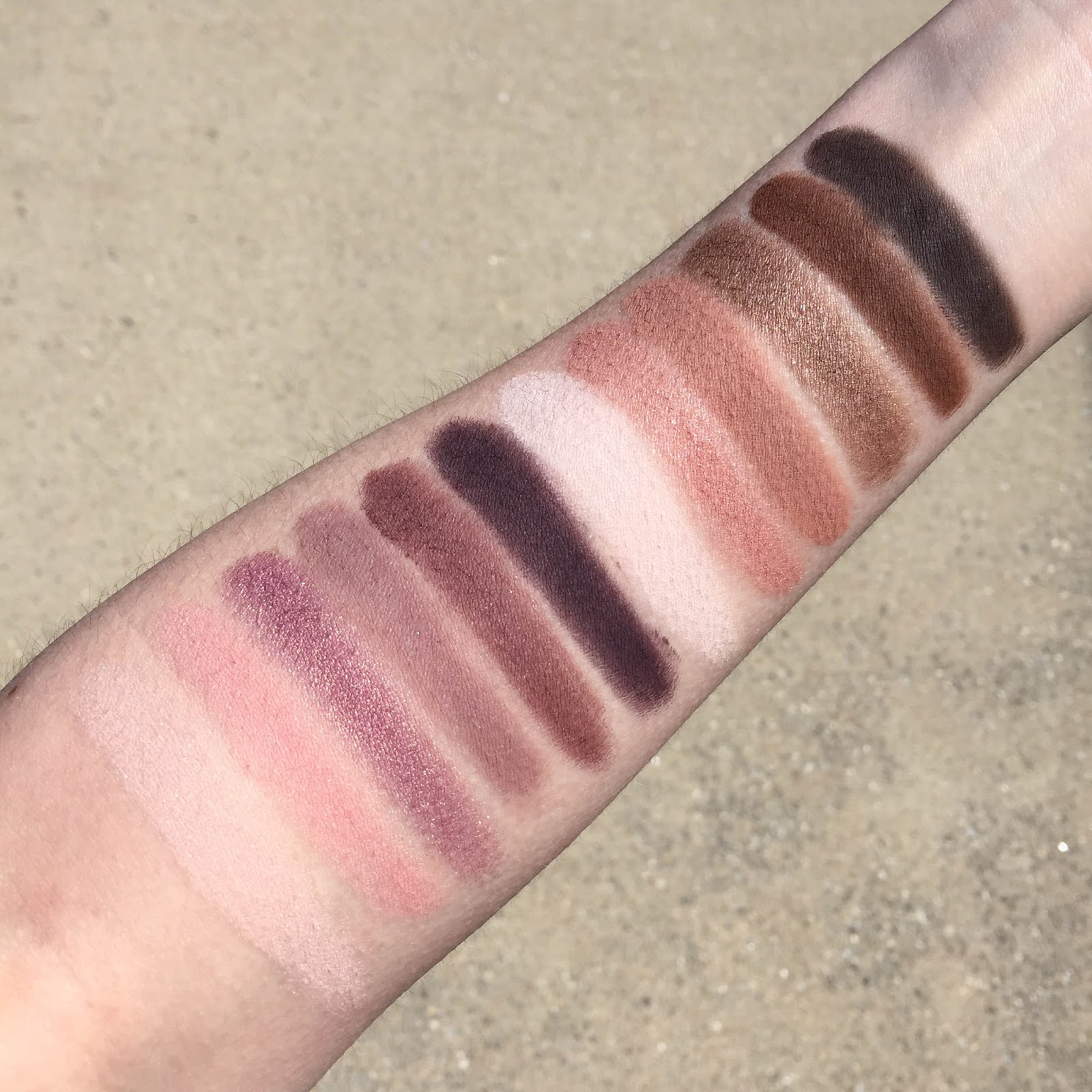 Laura Mercier Artist's Palette swatches on fair skin