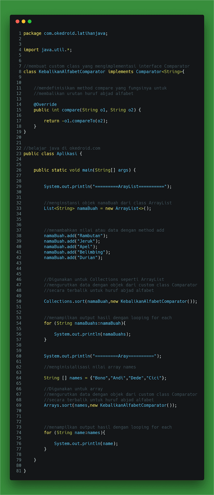 Contoh Code program mengurutkan huruf text string terbalik kebalikan dengan interface comparator di program java