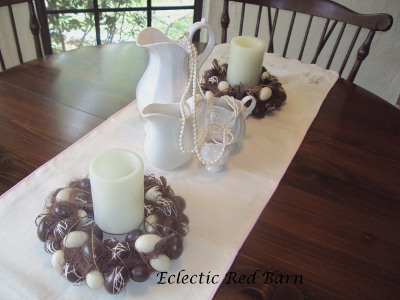 Eclectic Red Barn: White ironstone pitchers with pearls and Easter candle holders