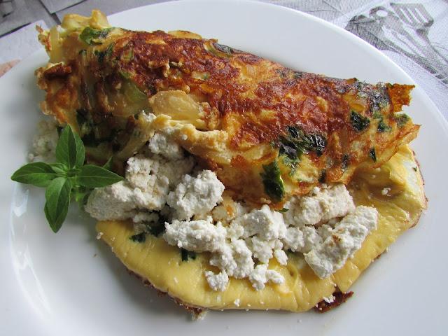 omlet z białym serem