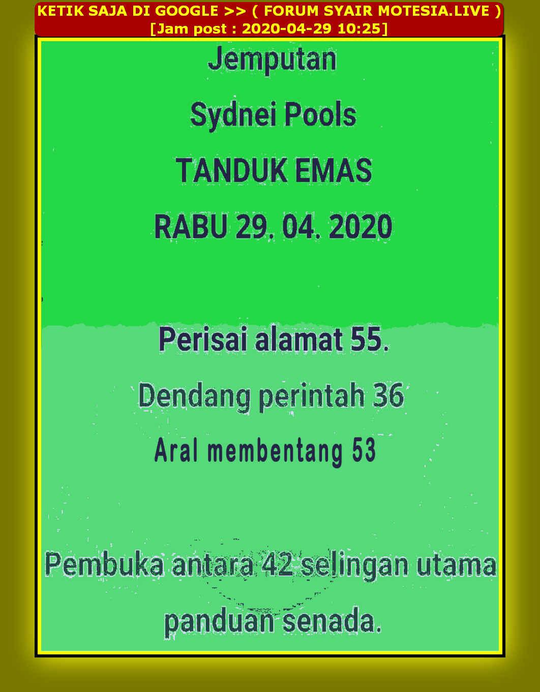 Kode syair Sydney Rabu 29 April 2020 22