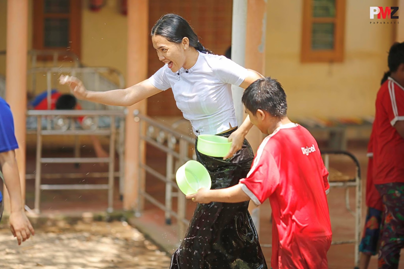 Aye Myat Thu Celebrating With Children In Thingyan