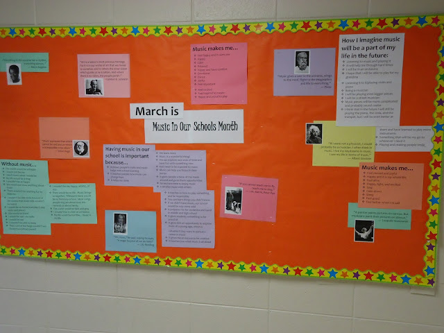MIOSM Music In Our Schools Month bulletin board and student quotes