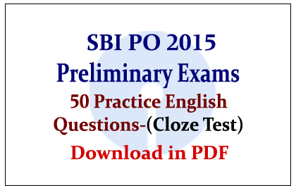 List of 50 Practice English Questions on Cloze Test for SBI
