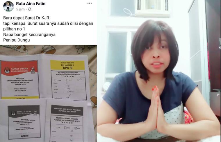 Dilaporkan Polisi Terkait Postingan HOAX Surat Suara Yang sudah di Coblos,BMI Hong Kong Ini Minta Maaf