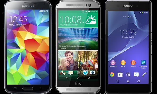 Galaxy S5 vs htc ONE (M8) vs Xperia Z2 Specs Comparison
