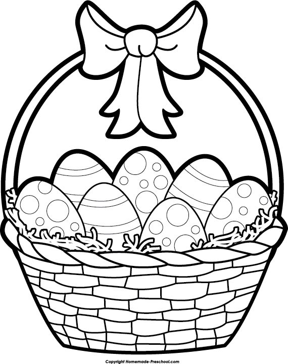 Printable Easter Baskets Coloring Pages Drawings Clip Art Easter Basket Coloring Pages