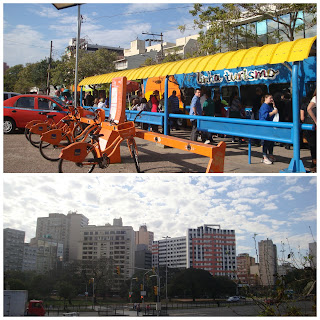 ônibus da Linha Turismo saindo do Largo da EPATUR