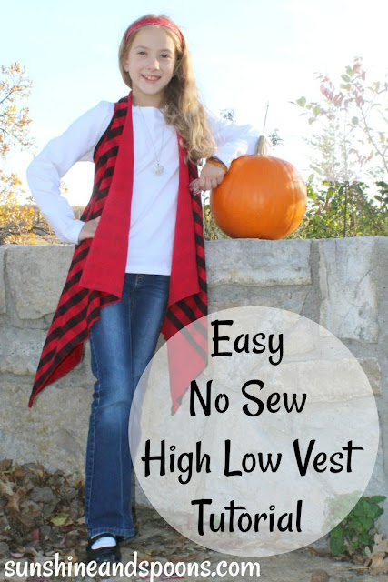 Easy No Sew High Low Vest Tutorial