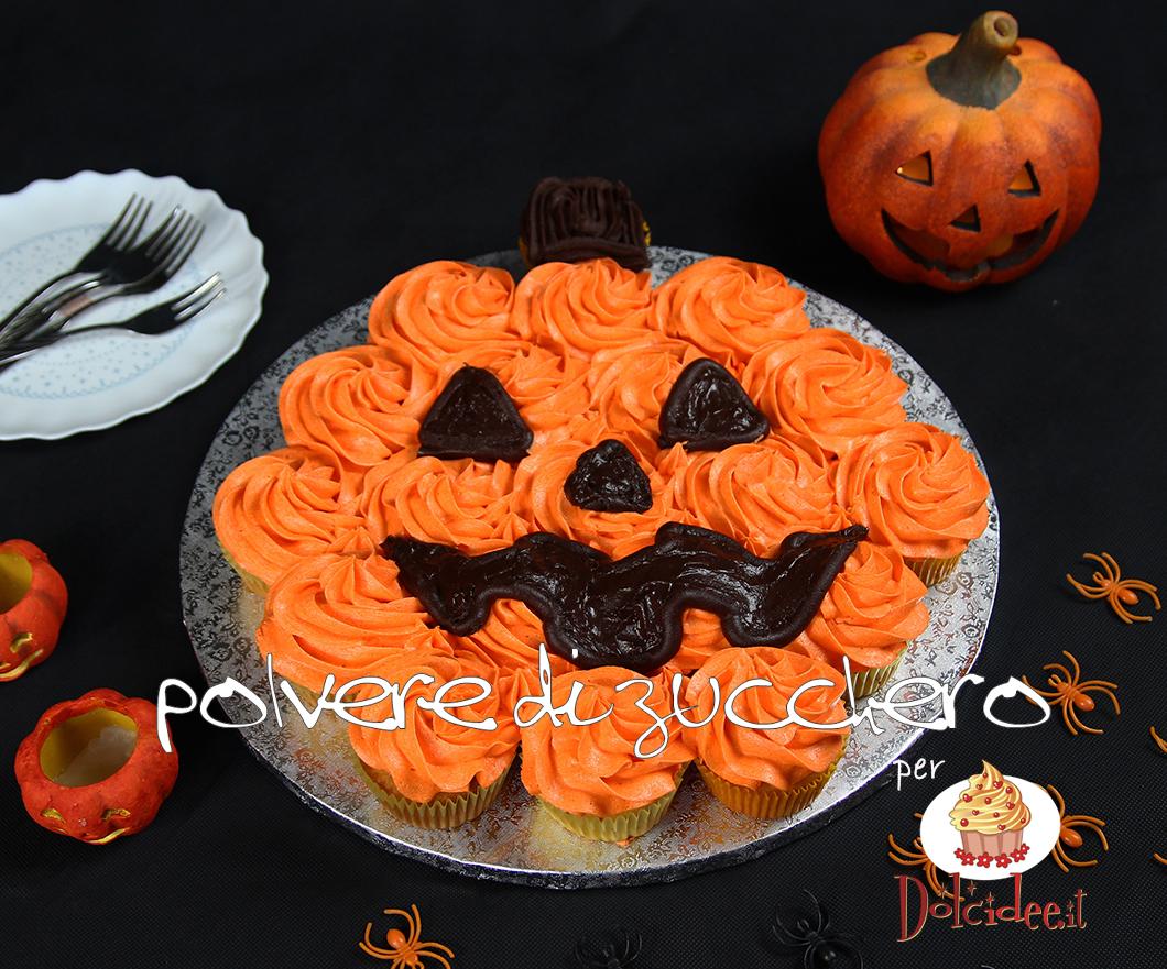 pull apart cupcake halloween pumpink jack o'lantern zucca cake design polvere di zucchero pasta di zucchero frosting